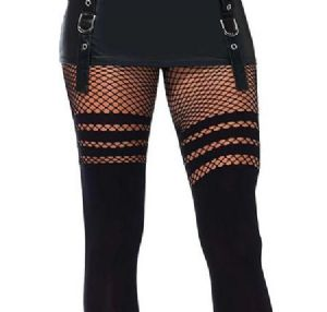 Leg Avenue Opaque Black Tights with Fishnet Tops